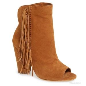 Dolce Vita Saddle Lotus Peep Toe Fringe Ankle Boot